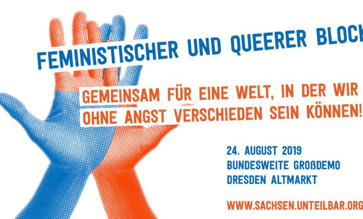 Auf zum feministischen und queeren #unteilbar-Block